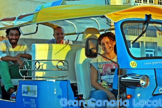 Green Trip Canarias e-tuk parked in Las Coloradas
