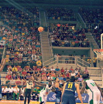 Spain's Serge Ibaka on the way to another basket at the Gran Canaria Arena in the friendly against Senegal