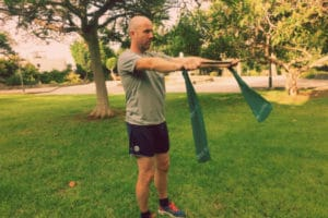 Mr Gran Canaria Local does pilates in the park