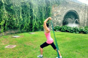 Diana Pilates does pilates in the park