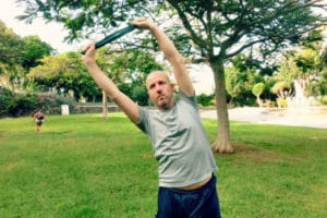 Mr GCL does pilates in the park with a resistance band