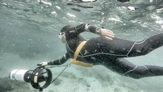 The sea scooter will help you keep up with the marine life snorkelling